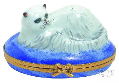 Chinchilla Persian Cat Limoges Boxes - Limoges Boxes Porcelain Figurines