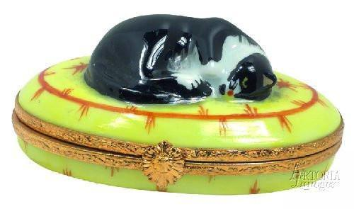 Cat Sleeping Limoges Boxes - Limoges Boxes Porcelain Figurines