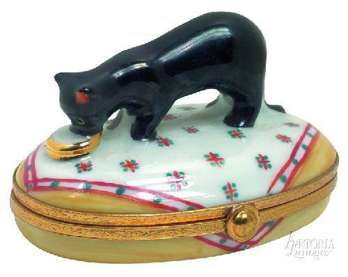 Black Cat With Gold Dish Limoges Boxes Limoges Boxes Porcelain Figurines Collectibles French Gifts
