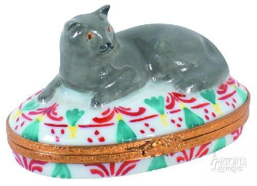 British Blue Shorthair Cat Limoges Boxes - Limoges Boxes Porcelain Figurines