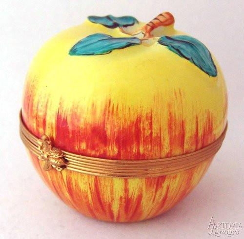 Red & Yellow Apple Limoges Boxes - Limoges Boxes Porcelain Figurines