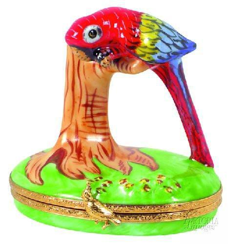 Red Macaw Limoges Boxes - Limoges Boxes Porcelain Figurines