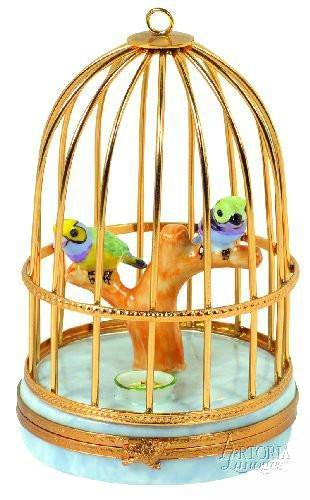 Tanagers in Cage-bird tanagers-Artoria-Limoges Box Boutique