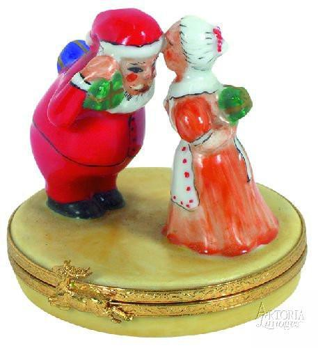 Father And Mother Christmas Limoges Boxes - Limoges Boxes Porcelain Figurines