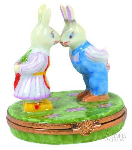 Mr. & Mrs. Rabbit Limoges Boxes - Limoges Boxes Porcelain Figurines