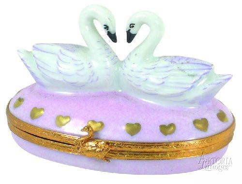 Swans In Love-swans bird love heart wedding-Artoria-Limoges Box Boutique