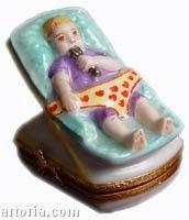 Car Seat Baby Figurine Limoges Boxes - Limoges Boxes Porcelain Figurines