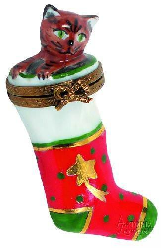 Stocking with Kitten-cat christmas stocking-Artoria-Limoges Box Boutique
