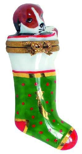 Stocking with Puppy-christmas stocking dog-Artoria-Limoges Box Boutique