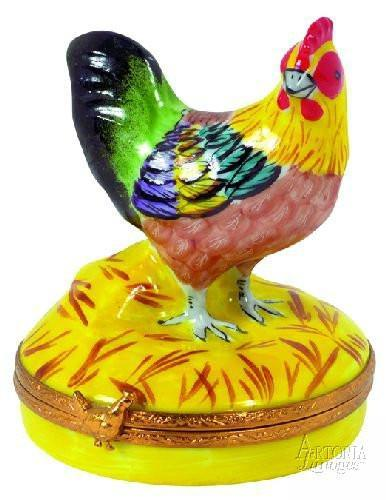 Small Rooster Limoges Boxes - Limoges Boxes Porcelain Figurines