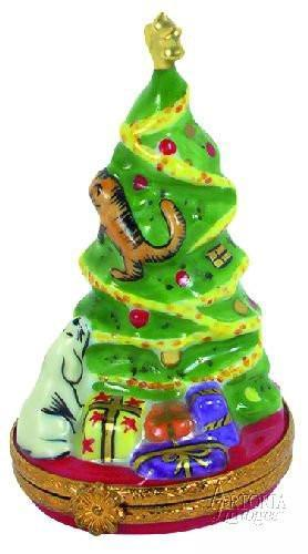 Christmas Tree With Puppy Limoges Boxes - Limoges Boxes Porcelain Figurines