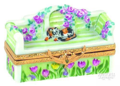Lutyens Bench With Cat-garden lutyens bench-Artoria-Limoges Box Boutique