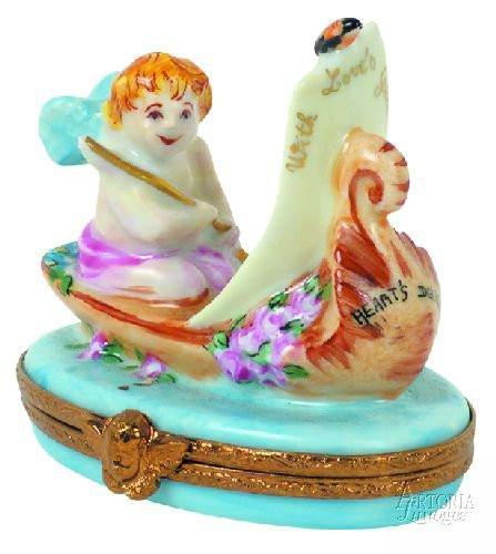 Cupid In Gondola Limoges Boxes - Limoges Boxes Porcelain Figurines