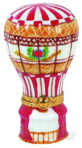 Hot Air Balloon: Red & White Limoges Boxes Limoges Boxes Porcelain Figurines Collectibles Gifts