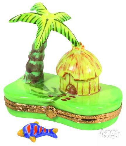 Cabana With Palm Tree Ocean Limoges Boxes - Limoges Boxes Porcelain Figurines