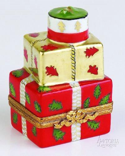 Xmas Present: Red & Gold Limoges Boxes - Limoges Boxes Porcelain Figurines