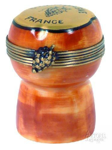 Champagne Cork Limoges Boxes - Limoges Boxes Porcelain Figurines