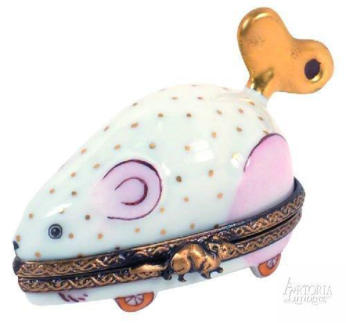 Wind-Up Mouse: Pink Limoges Boxes - Limoges Boxes Porcelain Figurines