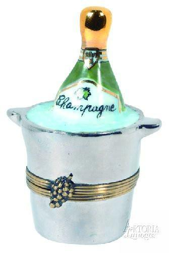 Champagne In Bucket Limoges Boxes - Limoges Boxes Porcelain Figurines
