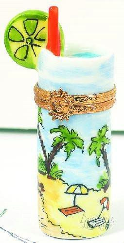Tropical Drink W/Palm Tree Limoges Boxes - Limoges Boxes Porcelain Figurines