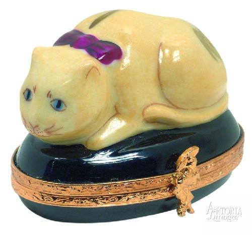 Chinese Cat Limoges Boxes - Limoges Boxes Porcelain Figurines
