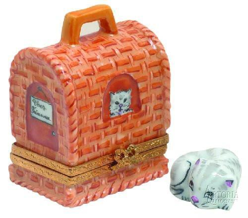 Cat Carrier w/ Removable Cat Limoges Boxes - Limoges Boxes Porcelain Figurines