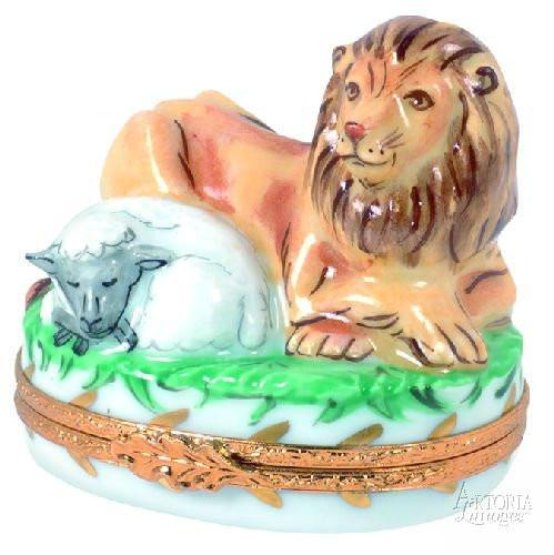 Lion And Lamb-lion baby religion-Artoria-Limoges Box Boutique