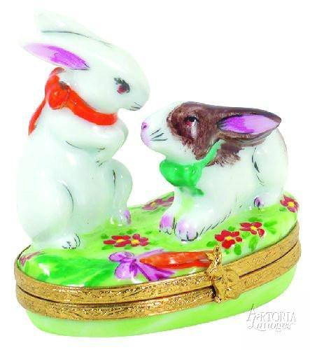 Two Love-Bunnies Limoges Boxes - Limoges Boxes Porcelain Figurines