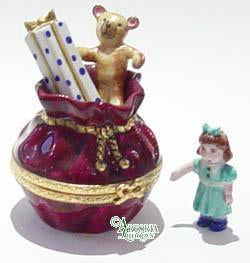 Santa's Bag ofToys: Burgundy Limoges Boxes - Limoges Boxes Porcelain Figurines
