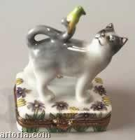 Cat With Canary Limoges Boxes - Limoges Boxes Porcelain Figurines