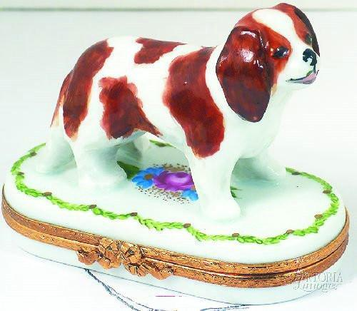 Cavalier King Charles Dog Limoges Boxes - Limoges Boxes Porcelain Figurines