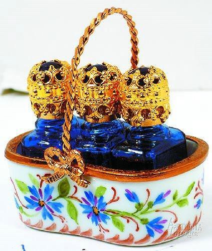 Basket W/ 3 Bottles Limoges Boxes Limoges Boxes Porcelain Figurines Collectibles French Gifts