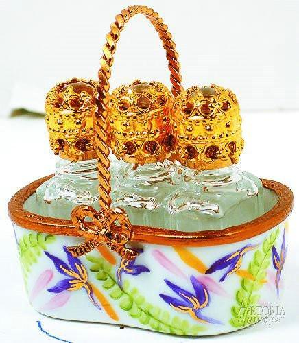 Basket W/3 Bot-Tles: Ferns Home Limoges Boxes Limoges Boxes Porcelain Figurines Collectibles French Gifts