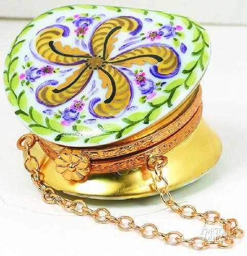 Round Purse: Fountainbleau Limoges Boxes - Limoges Boxes Porcelain Figurines