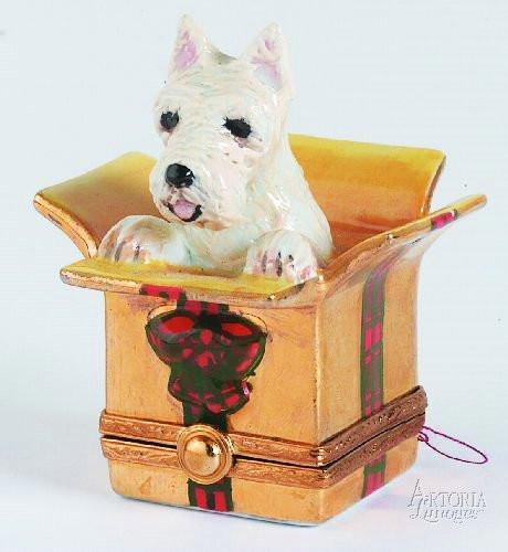 Westie Dog in Christmas Present Limoges Boxes - Limoges Boxes Porcelain Figurines