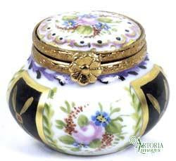 Annabelle Box:Malmaison Noir Limoges Boxes Limoges Boxes Porcelain Figurines Collectibles French Gifts