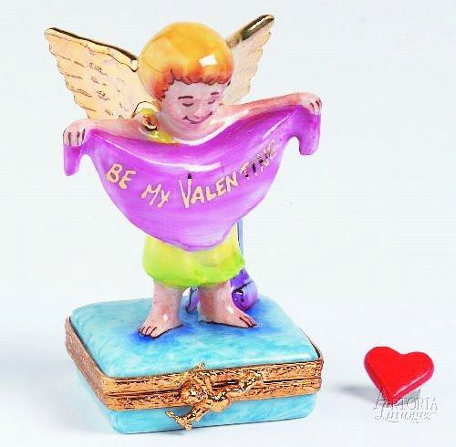 Valentine Angel Cupid Bright Gold Limoges Boxes - Limoges Boxes Porcelain Figurines