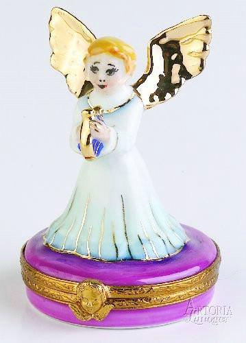 Gold Angel With Harp Limoges Boxes Limoges Boxes Porcelain Figurines Collectibles Gifts
