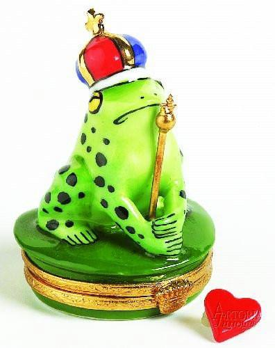 Frog With Blue & Red Crown Limoges Boxes - Limoges Boxes Porcelain Figurines