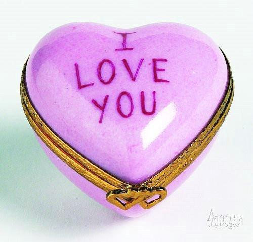 Heart: *I Love You* Pink Limoges Boxes Limoges Boxes Porcelain Figurines Collectibles Gifts