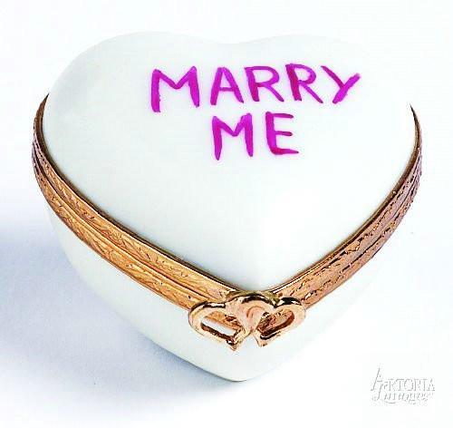 Heart: *Marry Me* White Limoges Boxes Limoges Boxes Porcelain Figurines Collectibles Gifts