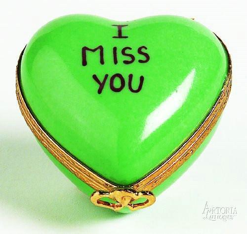 Heart: *I Miss You* Green Limoges Boxes Limoges Boxes Porcelain Figurines Collectibles Gifts