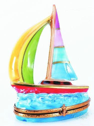 Sailboat: Multi Color Limoges Boxes - Limoges Boxes Porcelain Figurines