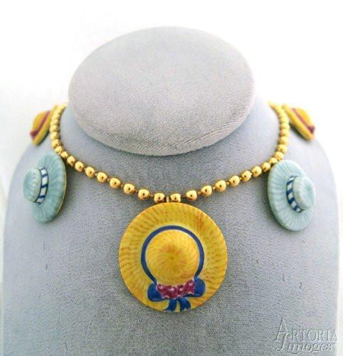 Hat Necklace: Yellow & Gray Limoges Boxes Limoges Boxes Porcelain Figurines Collectibles Gifts