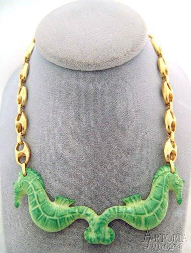 Sea Horse Necklace: Green-jewelry fashion necklace hat ocean-Artoria-Limoges Box Boutique