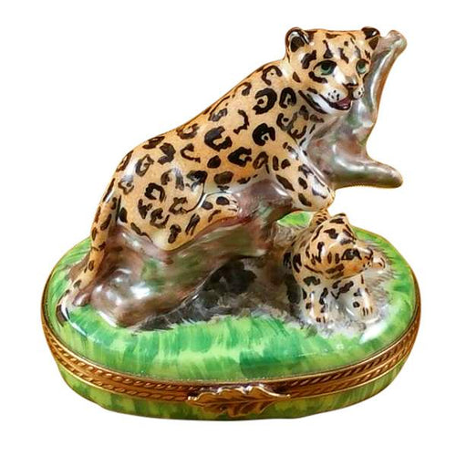 PANTHER MOTHER W BABY-wild animal cat Rochard Limoges Box-Rochard-Limoges Box Boutique
