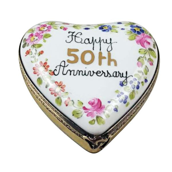 Happy 50Th Anniversary Heart Limoges Porcelain Box Limoges Boxes Porcelain Figurines Collectibles Gifts