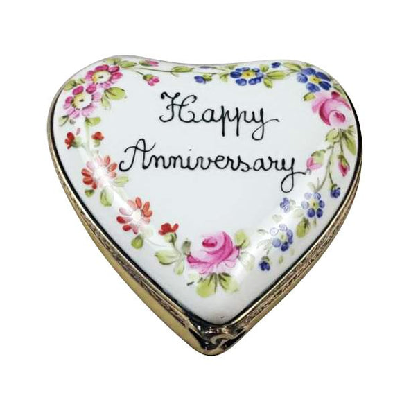 Happy Anniversary Heart Limoges Porcelain Figurine Box Limoges Boxes Porcelain Figurines Collectibles Gifts