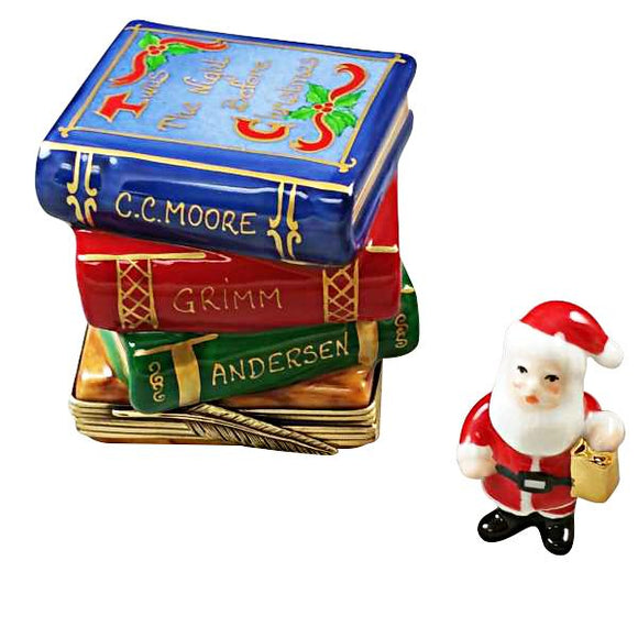 Twas the Night before xmas Santa Claus w Christmas Books Rochard Limoges Boxes - Limoges Boxes Porcelain Figurines