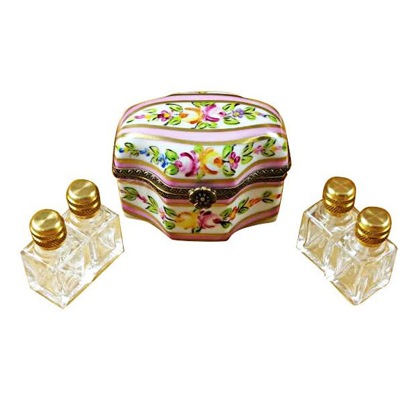 PINK FLOWER W/4 BOTTLES LIMOGES BOXES BOUTIQUE